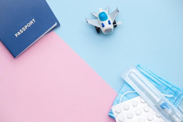 パスポート、飛行機、医療用品