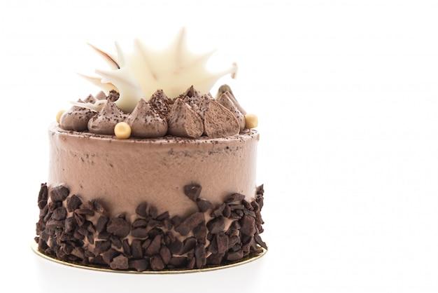 白い背景にチョコレートケーキ