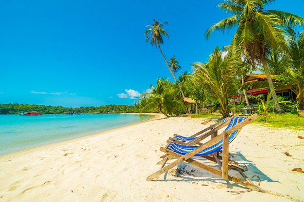 Красивый тропический пляж и море с кокосовой пальмой на райском острове