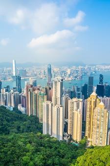 香港の街のスカイラインの美しい建築物建物外景観