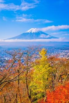 秋のカエデの葉の木の周りの山富士の美しい風景