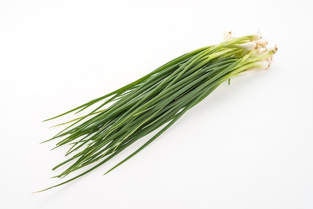 Зеленый лук на белом фоне