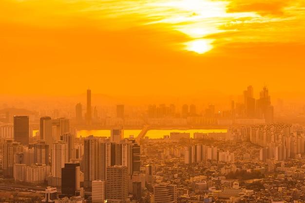 Красивый пейзаж и городской пейзаж города сеул