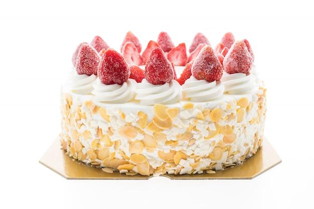上にイチゴとバニラアイスクリームケーキ