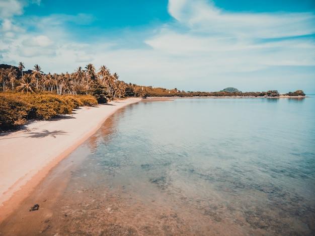 Вид с воздуха на красивый тропический пляж и море