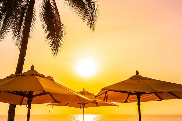 Красивая наружная природа с небом и закатом или восходом солнца вокруг кокосовой пальмы