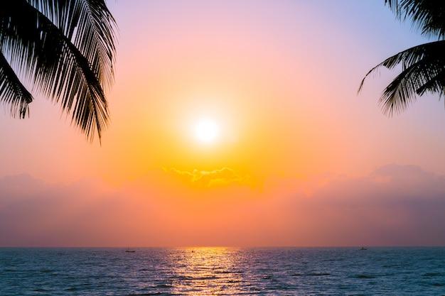 Красивый силуэт кокосовой пальмы на небе рядом с морем океан пляж на время заката или восхода солнца