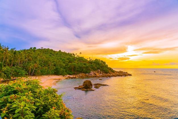 ココヤシの木とサムイ島の周りの美しい屋外熱帯ビーチ海