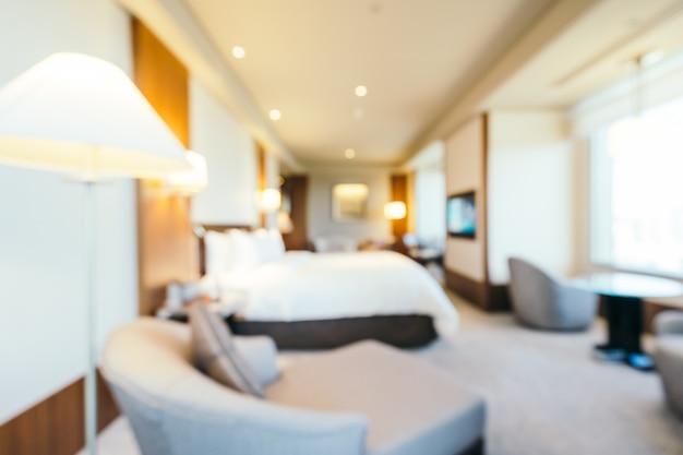 抽象的なぼかしの寝室とリビングエリアのインテリア、ぼやけた写真の背景