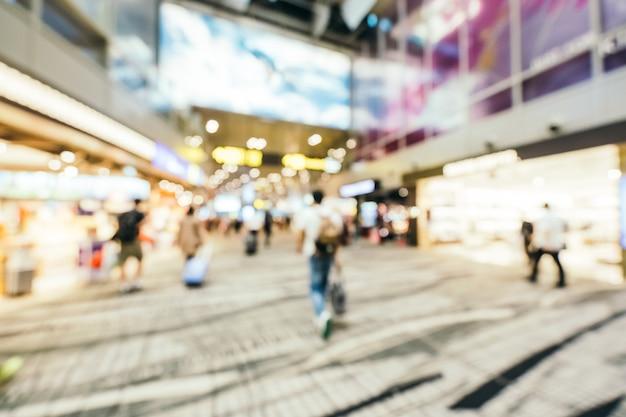 抽象的なぼかしと多重チャンギ空港ターミナルインテリア、ぼやけた写真の背景