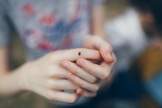 てんとう虫が手の周りを歩きます。カブトムシは子供の手の上でクロールします。