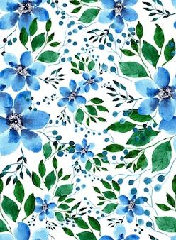 水彩ライトブルークレマチスの花と明るい緑の葉のシームレスパターン