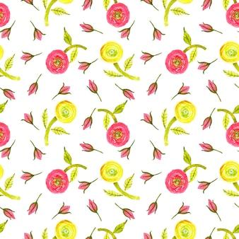 Акварель красный, желтый, лимонно-зеленый лютик, зеленый лист и бутон красной розы бесшовный фон