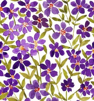 緩い水彩紫抽象的な花と緑の葉のシームレスパターン
