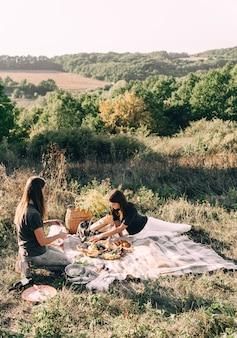 夏の日のピクニックに美しい若い女の子のガールフレンド。レジャー、休暇、観光の概念