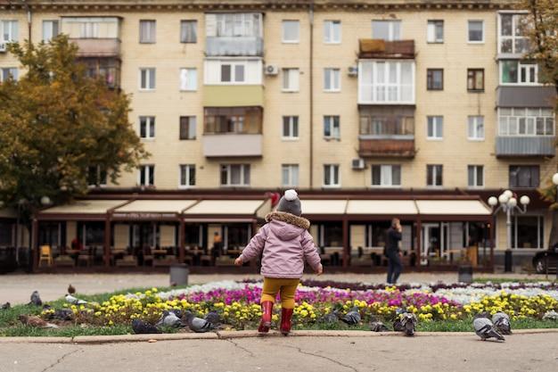 雨の中で幼児の女の子は、街の広場で鳥と遊ぶ。屋外での子供時代の活動