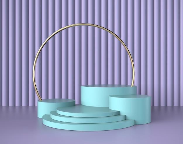 紫の壁と表彰台の最小限のシーン