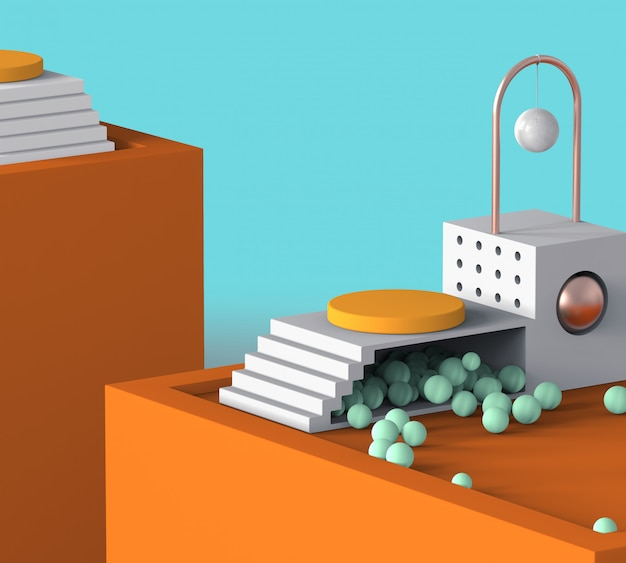 抽象的な幾何学のモダンなデザインのオレンジ色のカラフルな表彰台ディスプレイ夏休みテーマ