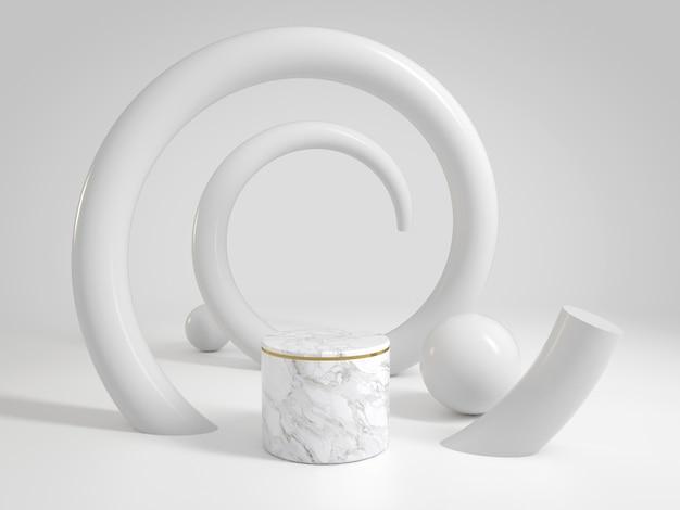 らせん曲線のショー製品や化粧品のための豪華なきれいな白い大理石のステージ