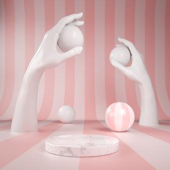 レインボーピンクパターンの背景に白い手で表彰台ディスプレイ大理石