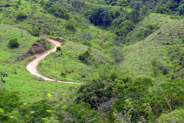 緑豊かな山の中を曲がりくねった未舗装の道路