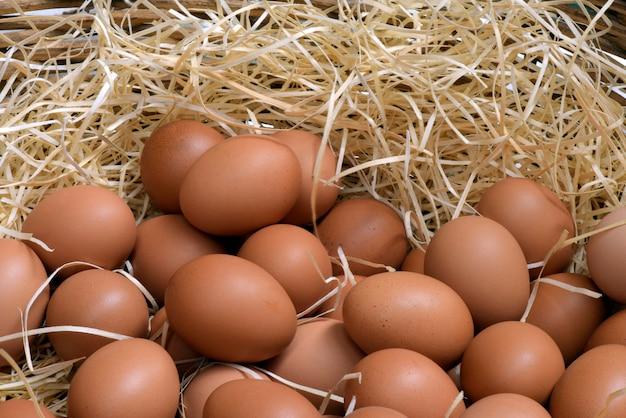 Свежие яйца в плетеной корзине