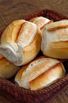 Корзина с французским хлебом на коричневом натуральном волокне