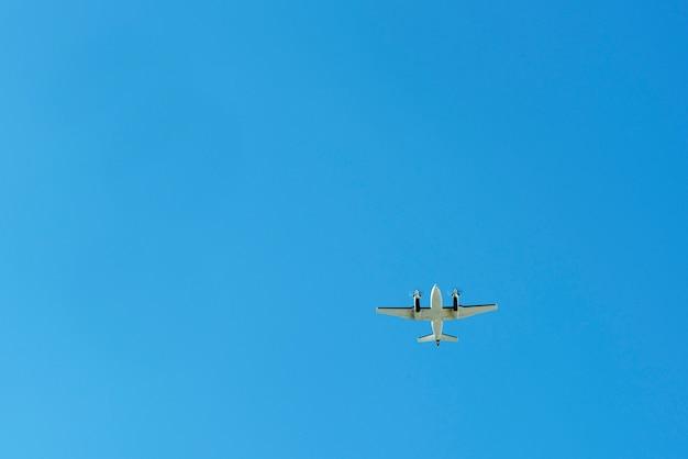 雲のない青い空の下で飛行機