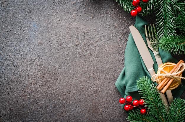Рождество праздничная сервировка стола копией пространства.