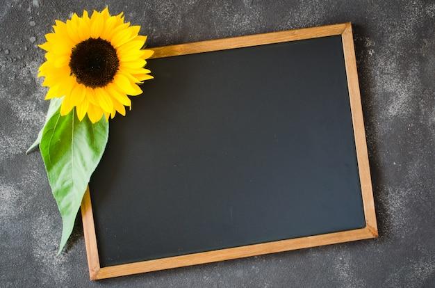 ひまわりと暗い石の上の空白の黒板