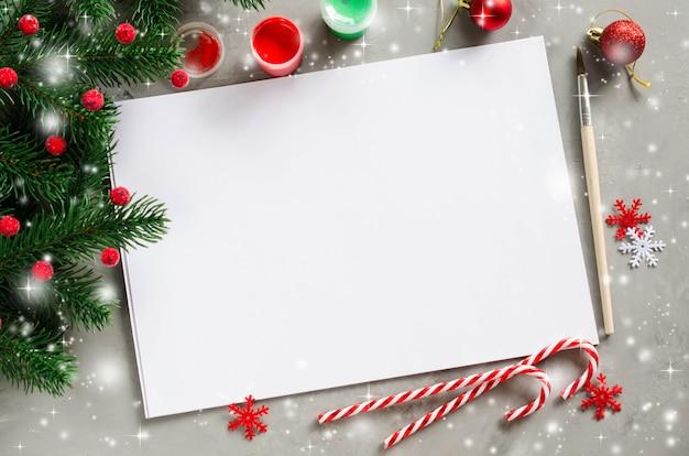 グリーティングカードやサンタへの手紙のためのクリスマスモックアップ。