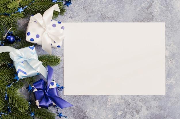 グリーティングカードやサンタの青い色の手紙のクリスマス。