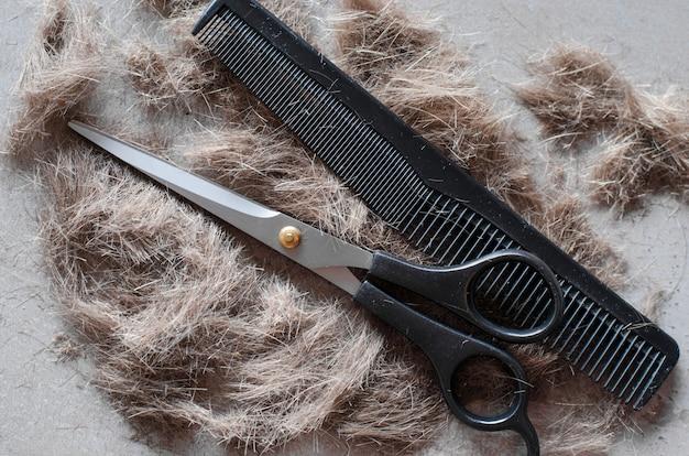 カットの髪の山、散髪と櫛のはさみ。散髪のためのツール。
