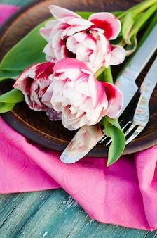 母の日や誕生日にお祝いテーブルセット。