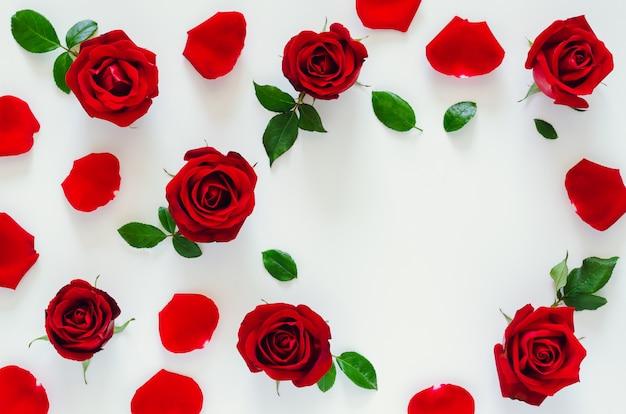 その花びらと葉と赤いバラは、バレンタインデーのハート形のスペースで白い背景の上に置き