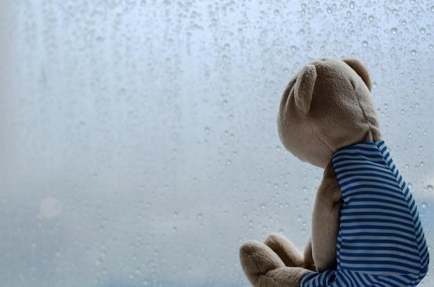 К сожалению, плюшевый мишка сидит и смотрит в окно в дождливый день.