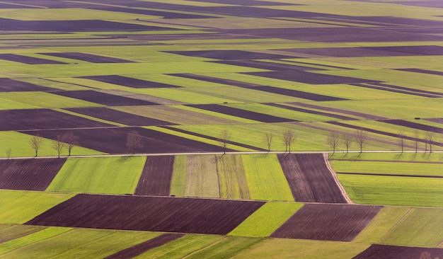 С высоты птичьего полета поля и сельскохозяйственный участок. воздушные виды.