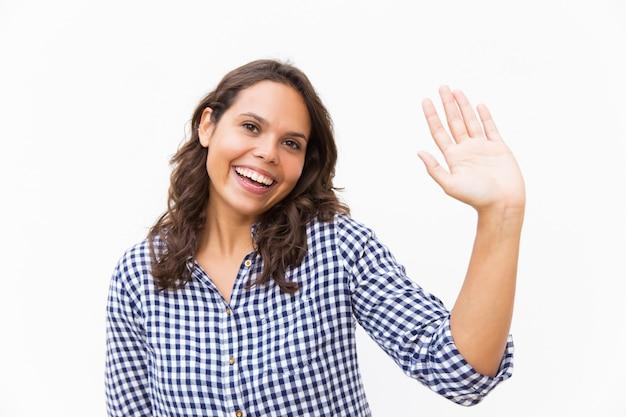 こんにちは手を振って幸せな甘い女