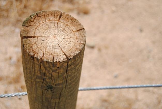 木製のログと金属フェンスのクローズアップ