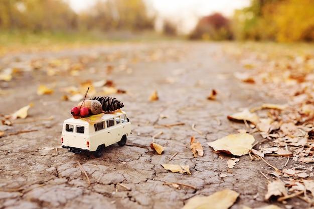 秋のコンセプト-ドングリ、ナナカマドの果実、黄色の葉、隆起の屋根で運転されるおもちゃの車