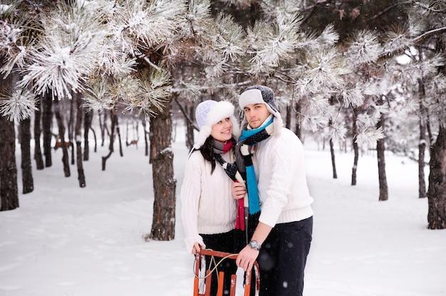 雪に覆われた木の森をカップルします。