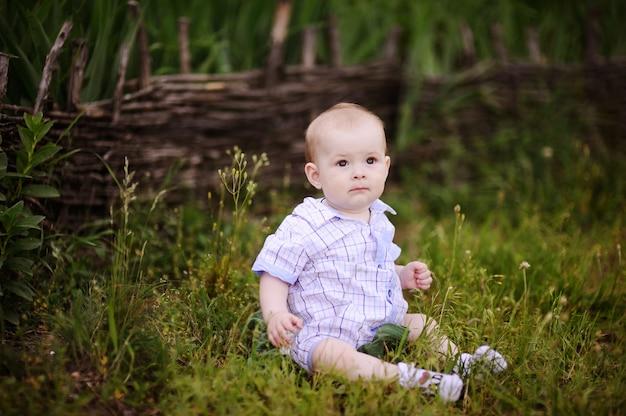 緑の芝生の上に座っている男の子