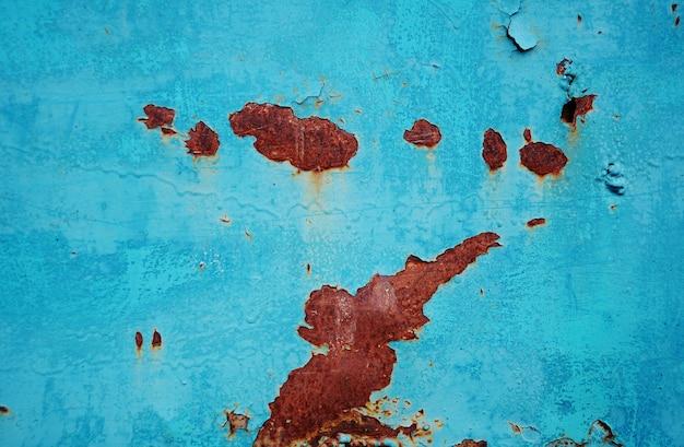 さびの斑点と青いペンキの質感