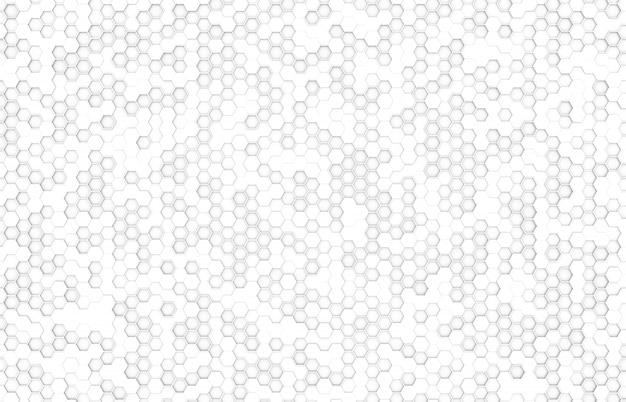 白い色の六角形のトップビューの背景