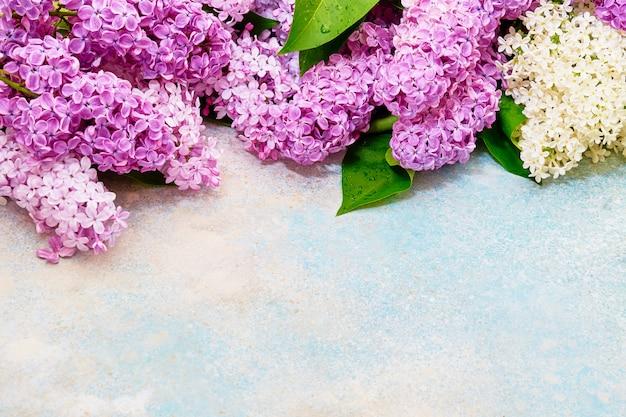 ピンクのライラックの枝、花の背景の花柄。フラット横たわっていた、上面図。
