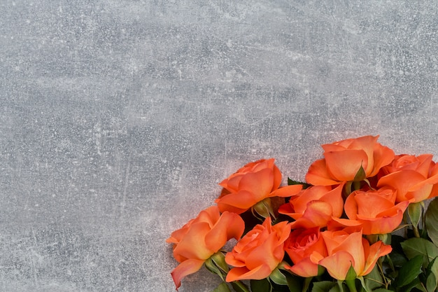 灰色のコンクリート背景に赤いバラの花束。