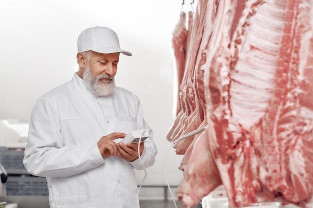 肉屋の保持装置と新鮮な豚の死体の検査。