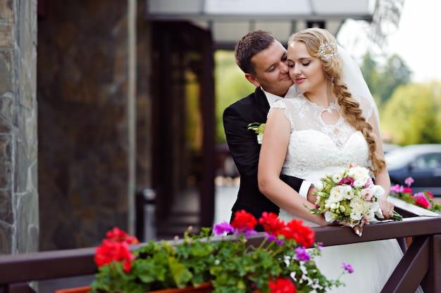 結婚式の日のカップル写真撮影