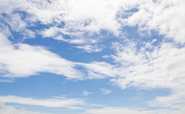 白い雲と青い空を背景