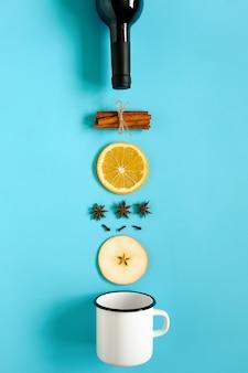Ингредиенты для глинтвейна, натюрморт на синем
